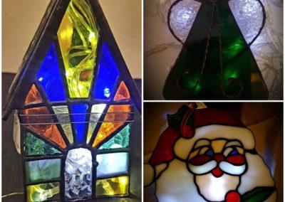 Loodglas geskenkies en kersboom versierings